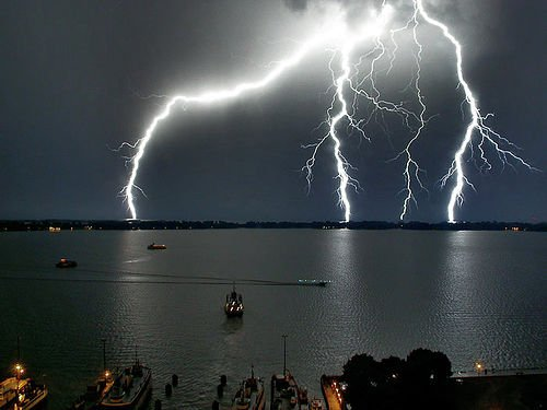 harbor with lightening