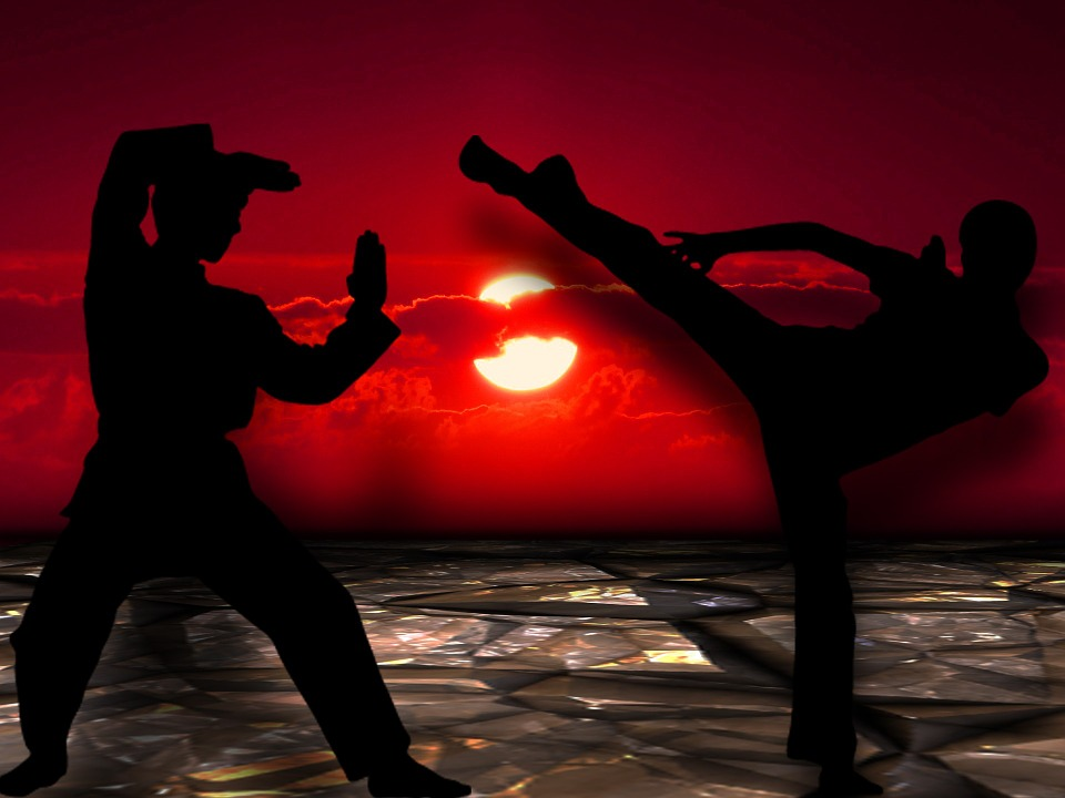 two fighters fighting in sunset