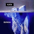 glacier above water surface, giant glacier beneath; kata and bunkai