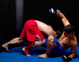 2 cage fighters grappling