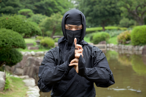 ninja standing by river