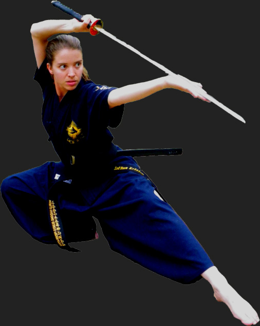 female martial artist with sword