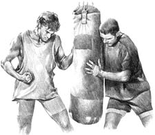 drawing of two martial artists and heavy bag