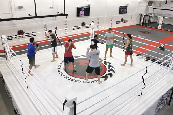 ring with martial artists training